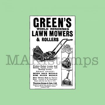 Advertisement rubber stamp lawn mowers