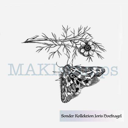 Motte mit Blume Stempel nach Vorlagen von Joris Hoefnagel MAKIstamps Sonderkollektion