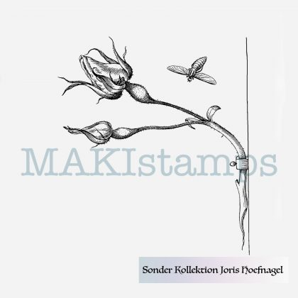 Rubber stamp rose and hover fly MAKIstamps special collection