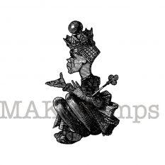 Unmontiertes Stempelgummi / Schwarze Königin / Alice im Wunderland Stempel